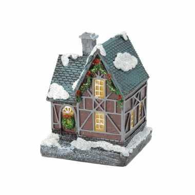 1x kersthuisjes/kerstdorpje met color change verlichting 13 cm type 1