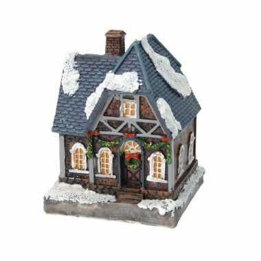 1x kersthuisjes/kerstdorpje met color change verlichting 13 cm type 2