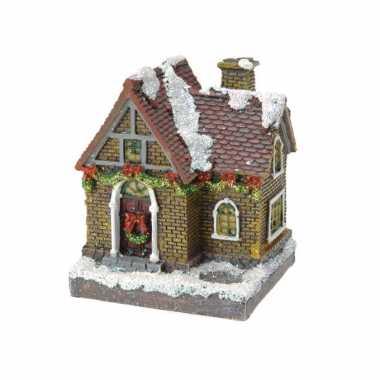1x kersthuisjes/kerstdorpje met color change verlichting 13 cm type 3