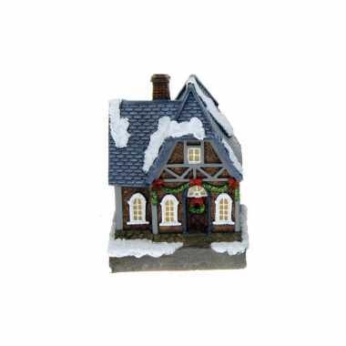 1x polystone kersthuisjes/kerstdorpje huisjes blauw dak met verlichting 13,5 cm