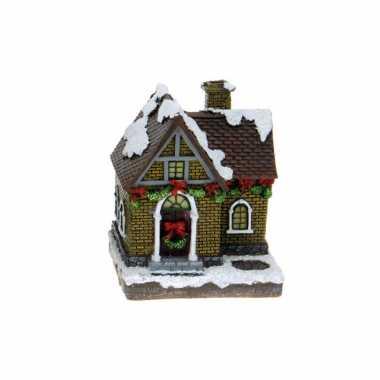 1x polystone kersthuisjes/kerstdorpje huisjes grijze schoorsteen met verlichting 13,5 cm