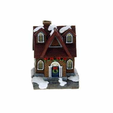 1x polystone kersthuisjes/kerstdorpje huisjes rood dak met verlichting 13,5 cm