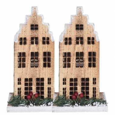 2x kerstdorp kersthuisjes grachtenpanden trapgevel 21 cm met led