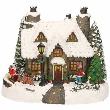 Kerstdorp grijs kersthuisje met kerstman 19 cm