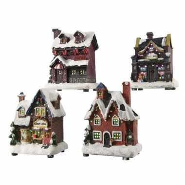 Kerstdorp kersthuisje 12 cm met led verlichting