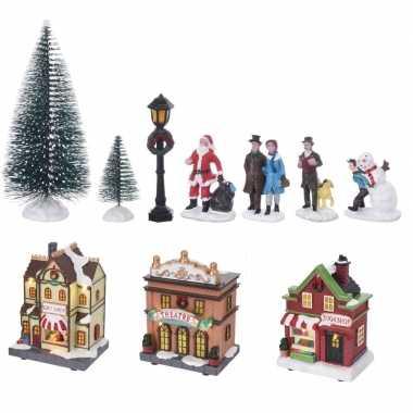 Kerstdorp kersthuisjes en accessoires set 17dlg met led