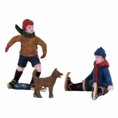 Kersthuisje accessoire kinderen met hond