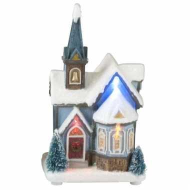Winter huisje kerk led licht