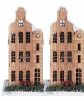 2x kerstdorp kersthuisjes grachtenpanden halsgevel 21 cm met led