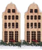 2x kerstdorp kersthuisjes grachtenpanden klokgevel 21 cm met led
