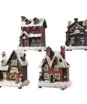 Kerstdorp kersthuisje snoepwinkel 12 cm met led verlichting