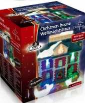 Kersthuisje raadhuis led kerst decoratie 9 x 6 x 9 cm